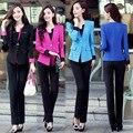 Doce Cor de alta Qualidade Mulheres Se Adapte Às Calças Casuais Terno Mulheres Nova Moda Blazer Mulheres Estilo Uniforme de Escritório À Noite Fatos de Calça