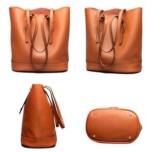 Image 3 - Zency borse a tracolla da donna di grande capacità 100% borsa in vera pelle borsa Shopping Vintage marrone borsa Tote Casual di qualità eccellente