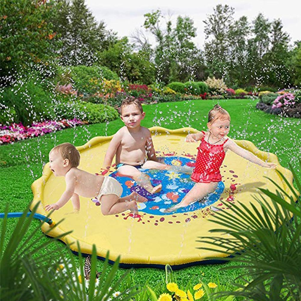67inch Round Cartoon Ocean Animal Outdoor Inflatable Water Spraying Pad Mat For Tub Swiming Pool