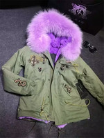 Large Real Raccoon Fur Collar Coats Mr Mrs Furs Parka Beading Design Lavender Faux Fur Lined