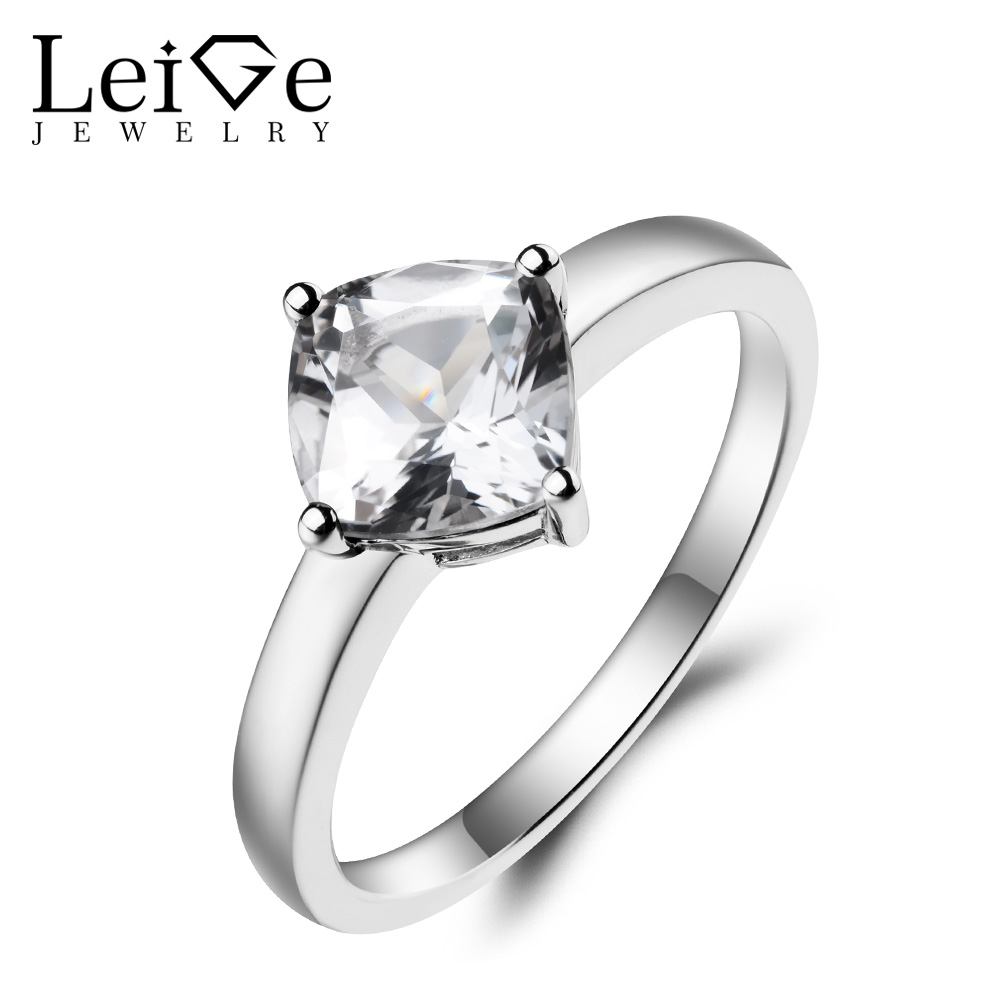 Leige Jewelry Natural White Topaz Ring Promise Ring November Birthstone Ring Cushion Cut Gemstone Solid 925 Sterling Silver leige jewelry real natural white topaz ring wedding ring pear cut gemstone november birthstone solid 925 sterling silver ring