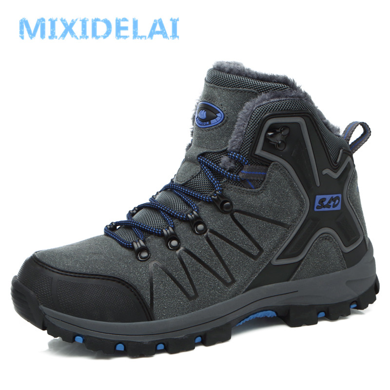 MIXIDELAI Winter Fur Warm Snow Boots For Men Sneakers Adult Antiskid Hard-Wearing Rubber Casual Fashion male lace-up Ankle Boots popular men martin boots winter with fur flat high top hot round toe lace up boots hard wearing warm 2018 cotton boots for male