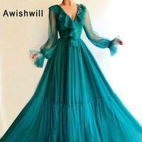 Длинное Элегантное Вечернее платье 2019 трапециевидной формы с длинными рукавами в арабском стиле женские вечерние платья с v образным вырез