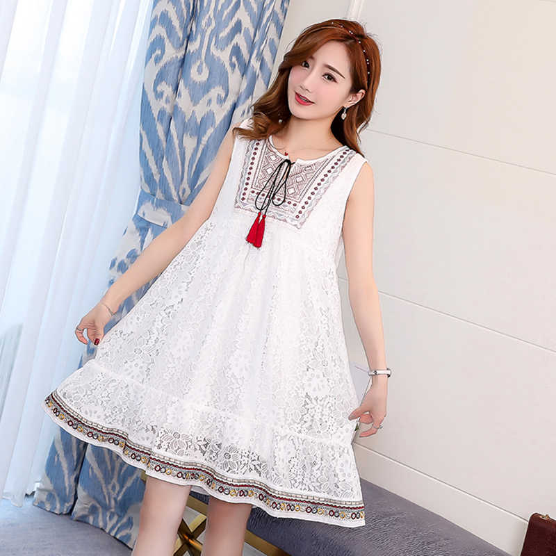 88d91379b82 ... 3029  Sleeveless Lace Maternity Dress 2019 Summer Fashion Tank Dress  Clothes for Pregnant Women Embroidery ...