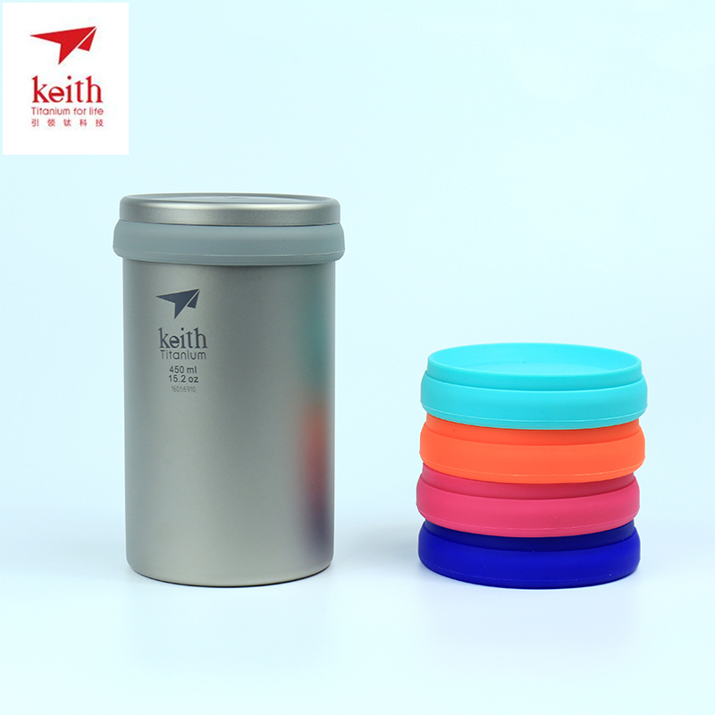 450ml Keith Brand Mug Titanium Outdoor Camping Titanium Cup Double Wall Coffee Mug With Lid Portable Tea Maker Ti3521 keith ks813 double wall titanium water cup mug silver grey 220ml