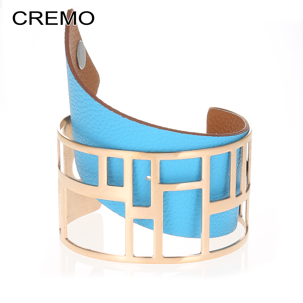 Cremo Labyrinth Cuff Bangle Stainless Steel Bracelet Manchette Femme Reversible Leather Bangles Jewelry Pulseira Feminina cremo labyrinth bangles stainless steel bracelets femme bijoux manchette reversible 40mm wide maze leather bangle pulseiras