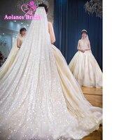 New Luxury Bling Glude Glitter Cut Edge Wedding Veils With Combom Blusher 3 M 3.5m 5M Long Bridal Veil Wedding Accessories
