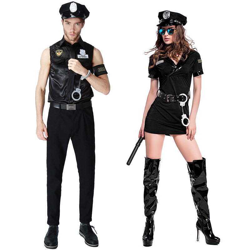 <font><b>Sexy</b></font> Couples Black Cop Costumes <font><b>Halloween</b></font> for Women Men Game Stage Bar Police Costume Cosplay image