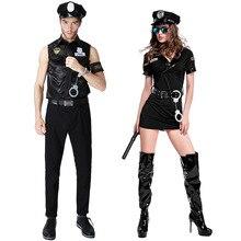 Seksi Çiftler Siyah Cop Kostümleri Cadılar Bayramı Kadın Erkek Oyunu Sahne Çubuğu Polis Kostüm Cosplay