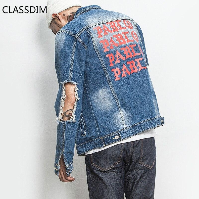 CLASSDIM Men Big Holes Denim Jacket Coats Light Blue Jean Coats New Spring Autumn High Street Style Holes Denim Jackets Size 5XL denim