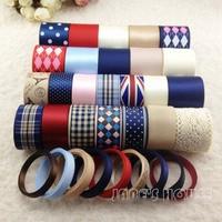 2015NEW,33m College Wind Diy handmade hair bows material accessory decor ribbon cotton lace grosgrain/satin printed ribbon Set