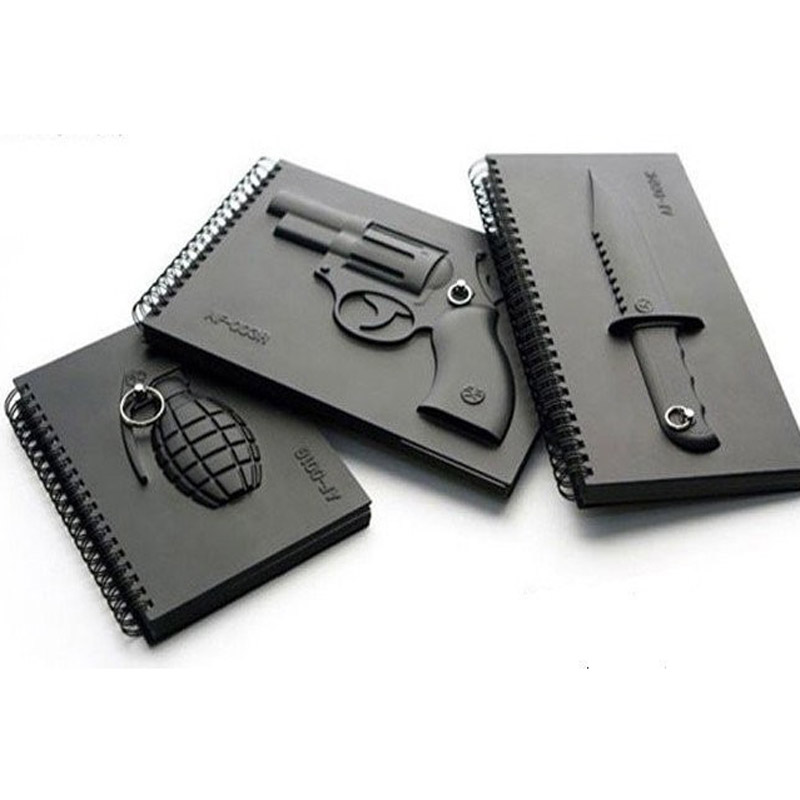 Latest Notebook Creativity Military Weapons Office Stationery School Supplies Travel Diary Personality Black Gunfire Notebook