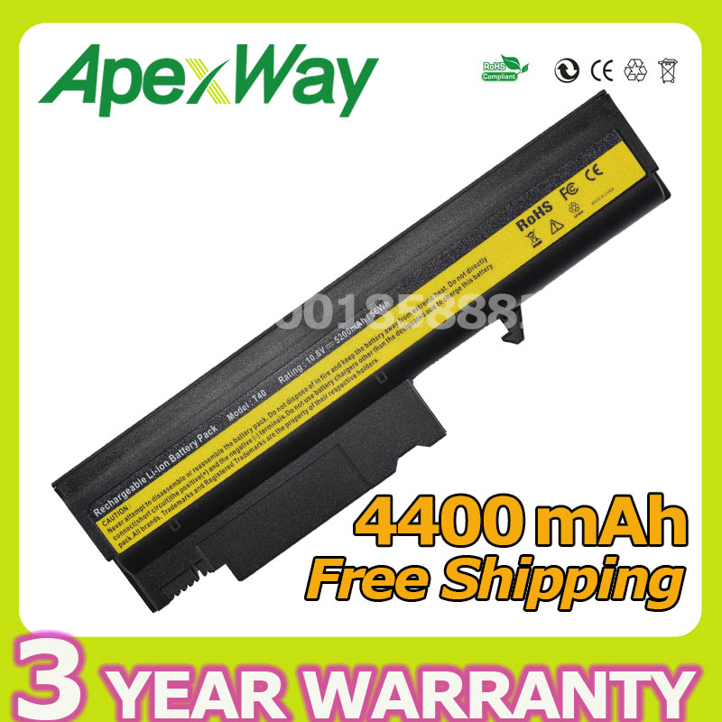 Apexway Laptop Battery for IBM ThinkPad T40 T40P T41 T41P T42 T42P R50 R50E R50P R51 R52 08K8194 92P1010 92P1011 92P1058 92P1060 kingsener 10 8v 7200mah new battery for ibm thinkpad r50 r50e r50p r51 r51p r52 r52p t40 t40p t41 t41p t42 t42p t43 t43p 42t4608