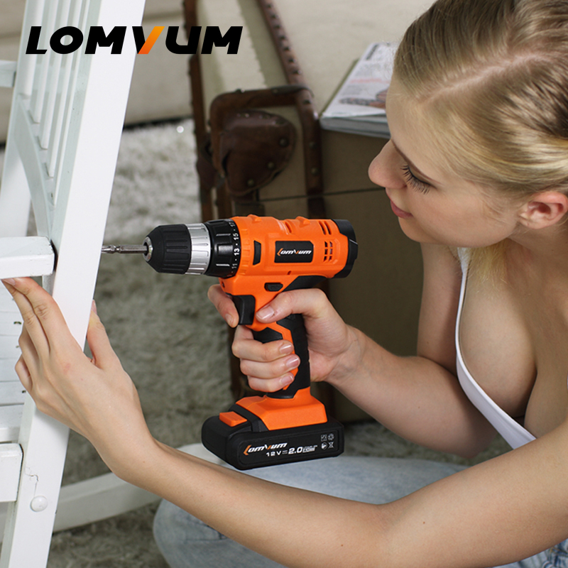 LOMVUM 12V Cordless Drill Rechargeable Lithium/ Li-ion Battery Electric Drill Household Screwdriver Woodworking Rotary Tool 18v 4000mah replacement lithium ion battery electric screwdriver li ion battery for bosch power tools electric cordless drill