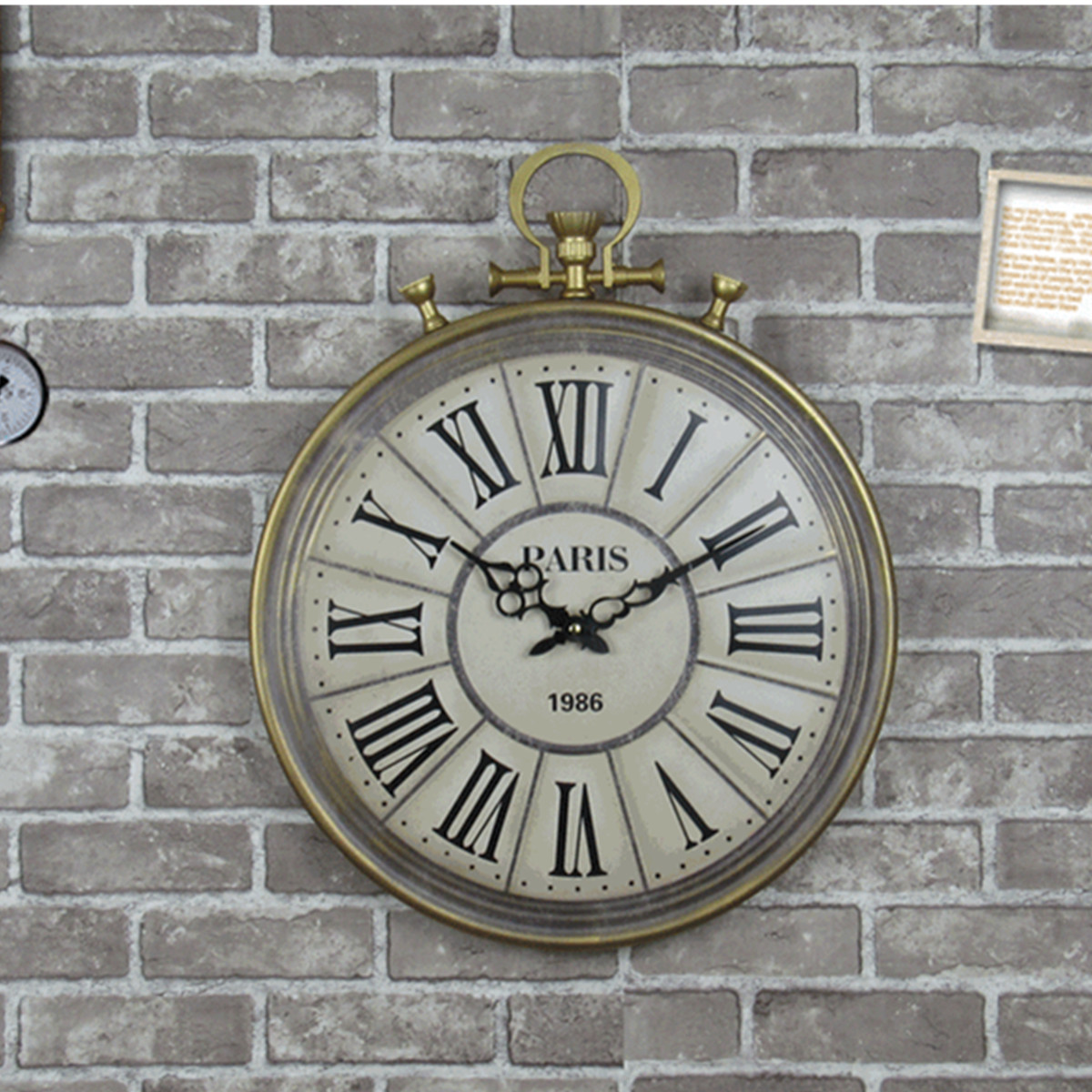 Large Round Wall Clock Vintage Roman Numeral Hanging Wall