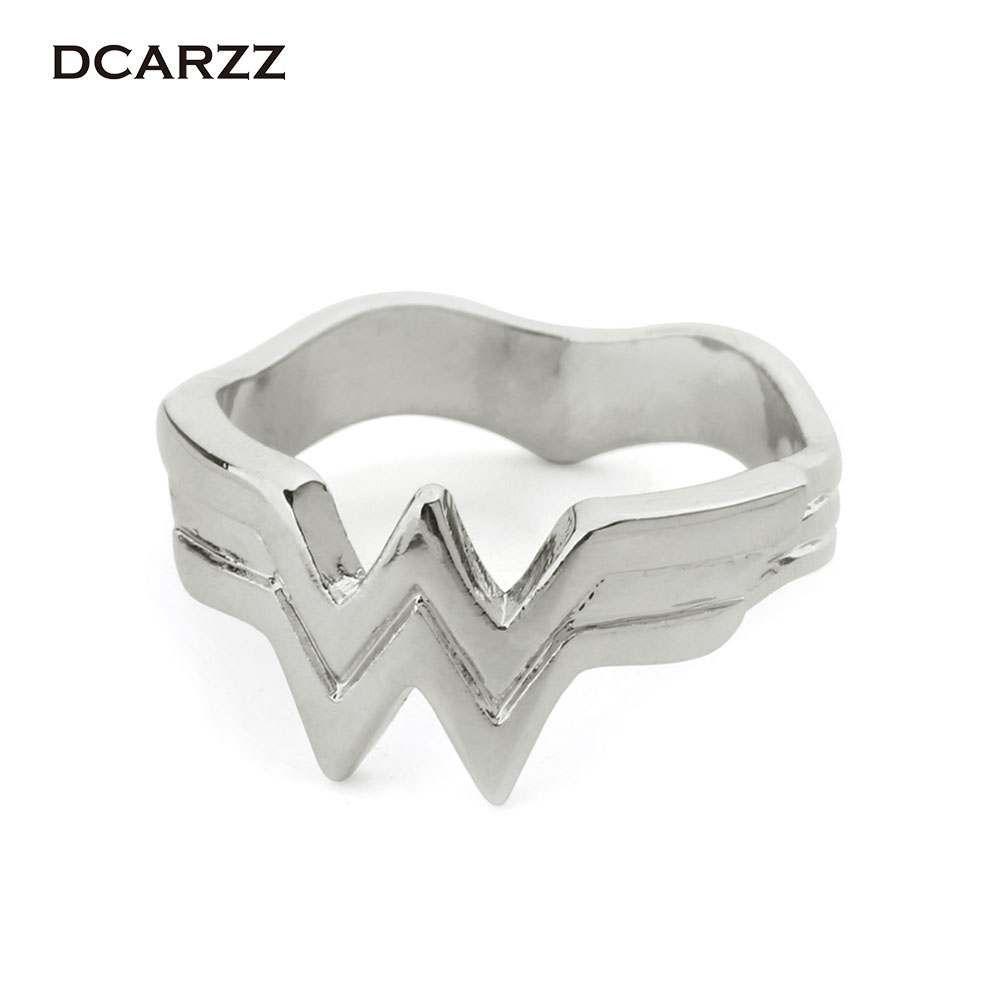 Wonder Woman Stacking Ring Super Hero 3D Wonder Woman Logo Geeky Engaged Ring Girl Power Diana