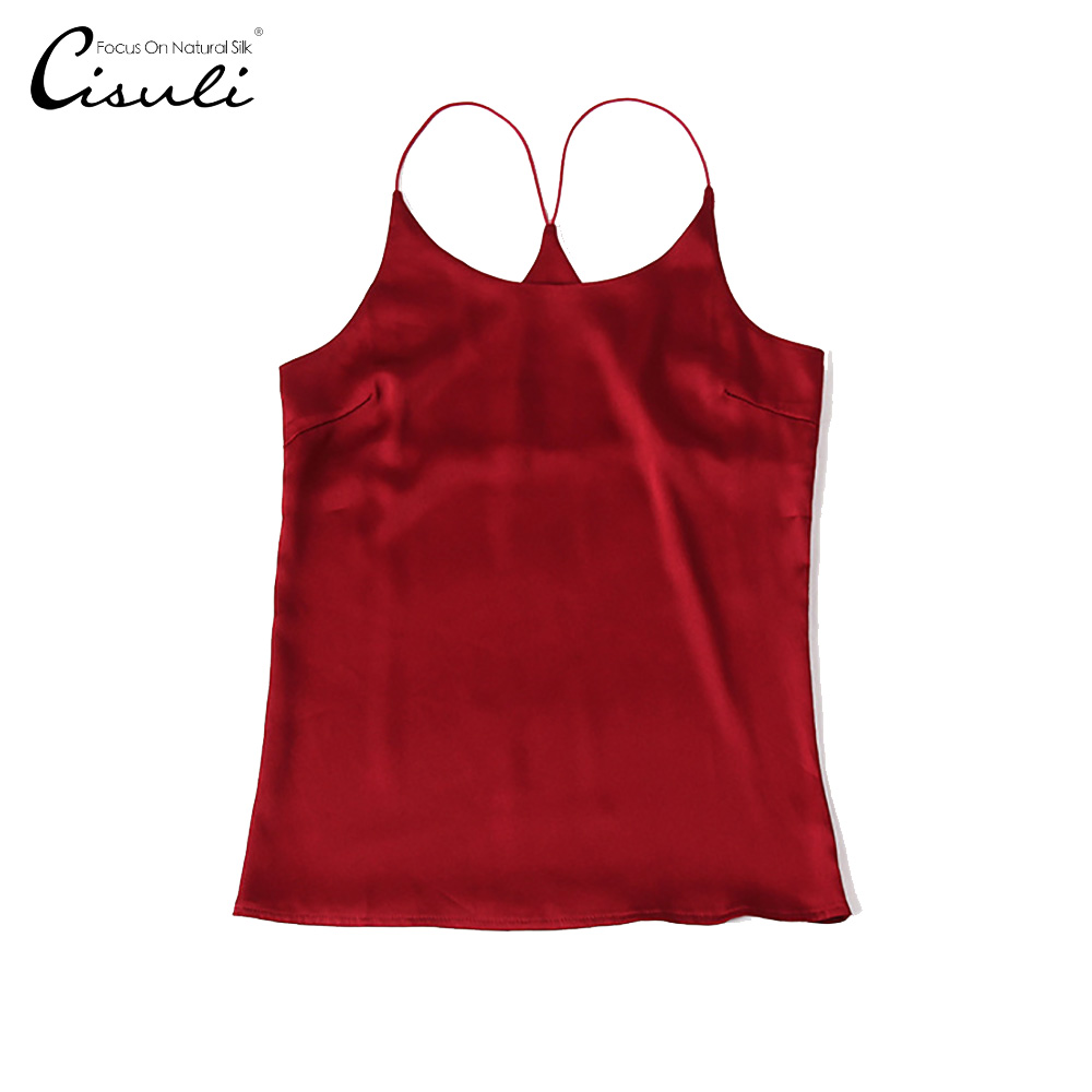 CISULI 100%Silk Satin Camisole Pure Mulberry Silk Fabric Underwear Womens Tops Casual Camisole Organic Fabrics ChinaSilk Factory