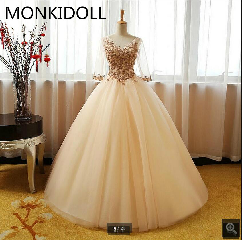 Ball-Gown Prom-Dress Beading Champagne Appliques Vestido-De-Festa Lace V-Neck Puffy 3/4-Sleeve