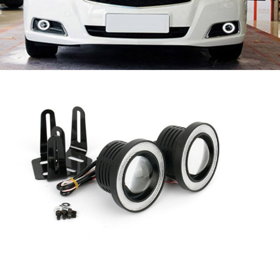LED Fog Lamp Assembly Fog Light Daytime Running Light With Lens COB Halo Angel Eyes Rings For Chevrolet Cruze
