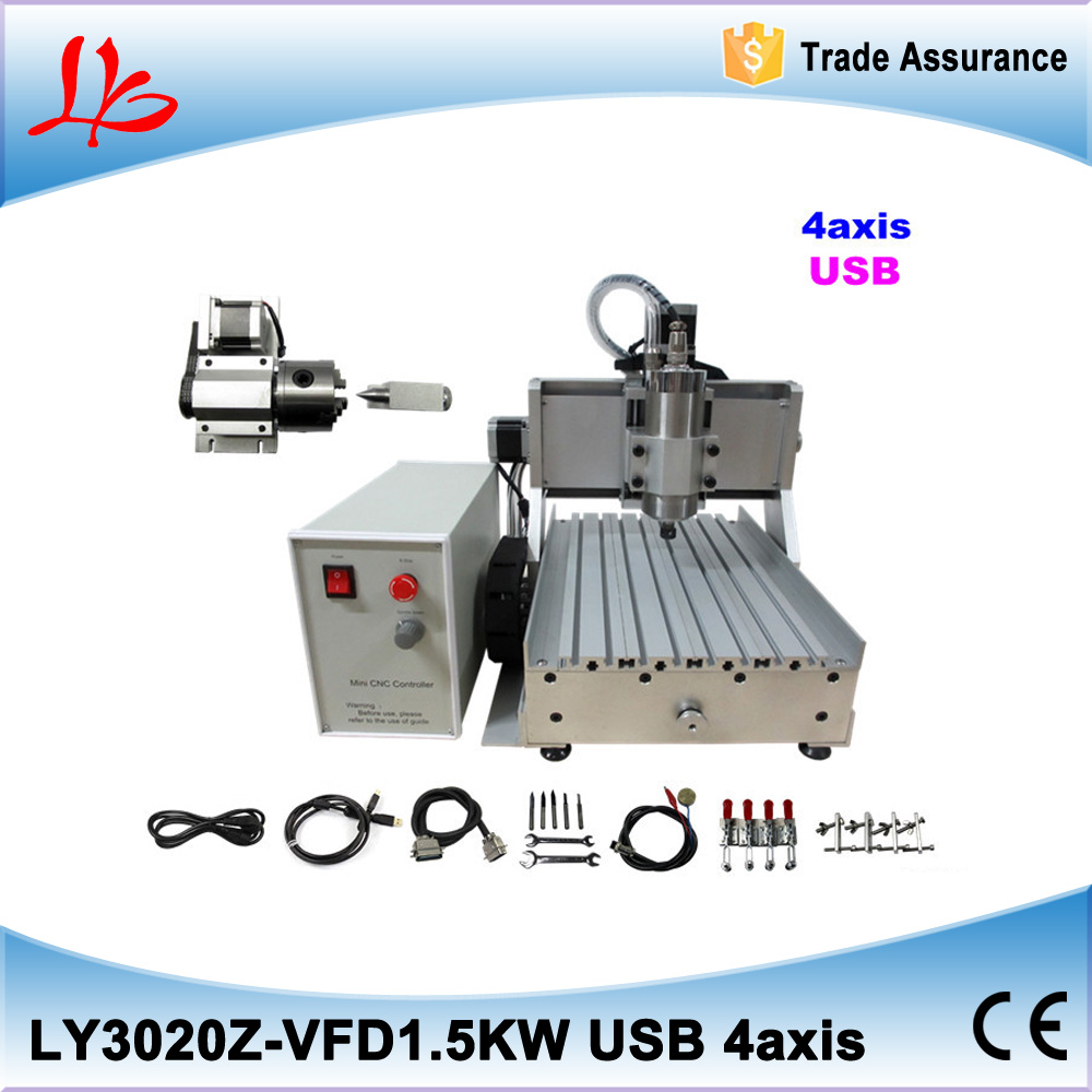 Russia duty free USB port 3D Mini cnc router 30X20 1.5KW water cooling spindle limited switch with 4th axis