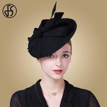 89a5cb0328adf FS Fascinators Winter Hats For Women Elegant Black Wine Red Wool Felt  Pillbox Hat Girls Lady Formal Church Wedding Dress Fedoras
