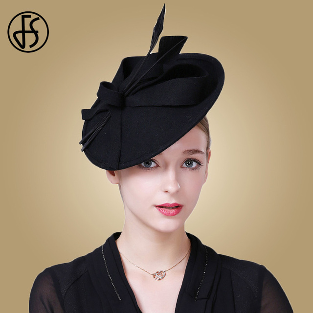 FS Fascinators Winter Hats For Women Elegant Black Wine Red Wool Felt  Pillbox Hat Girls Lady Formal Church Wedding Dress Fedoras 290a36fb72b