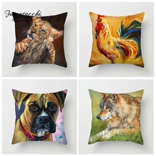 Fuwatacchi Oil Painting Cushion Cover Animals Pillow Cover for Home Sofa Decor Horses Rabbits Rooster Pillowcases 450mm*450mm