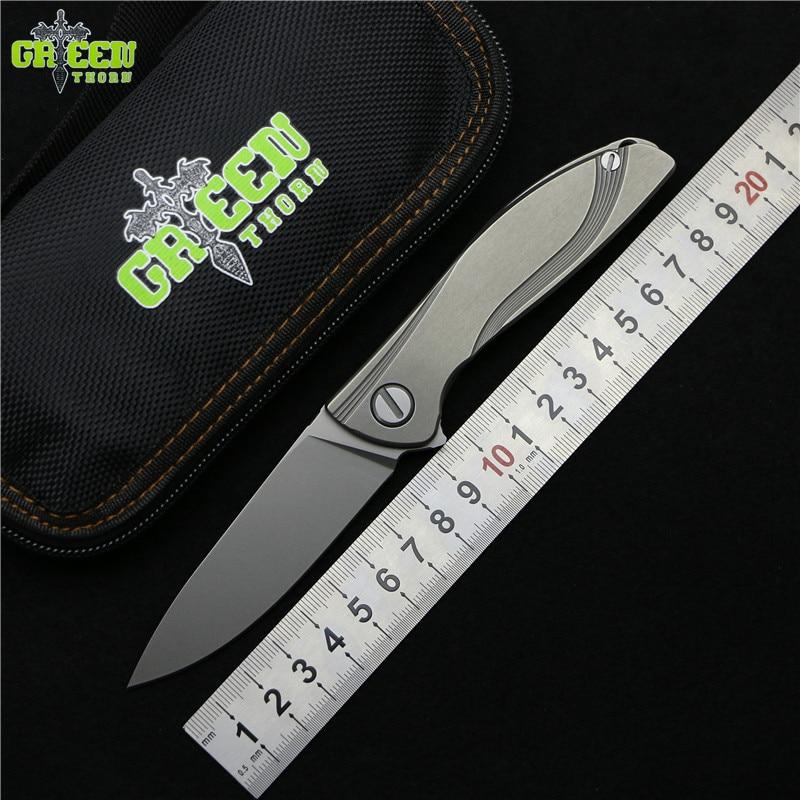 Espinho verde NeOn Lite M390 MRBS TC4 titanium handle camping caça ao ar livre Utilitário Fruto Facas de bolso faca dobrável EDC ferramentas