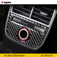 Rear cigarette lighter panel decorative cover trim car interior accessories Carbon fiber strip for Audi A3 8V 2014 2018 year