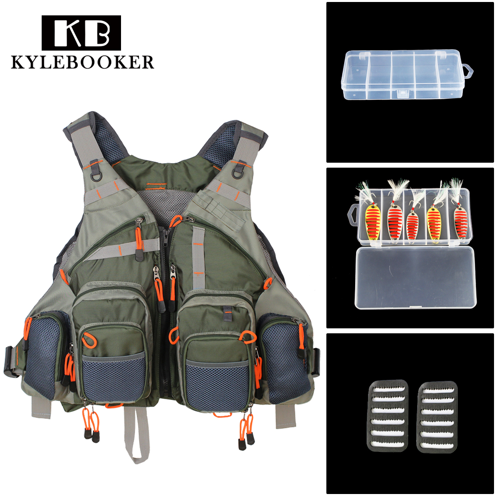 Multi Function Fishing bag Adjustable Mesh Vest Outdoor Fly Fishing Vest With fishing Tackle baits Box and Spoon Lure kits trulinoya multi purpose fishing bag 24 15 cm fish lock lure box accessories box style fishing bag set fishing tackle best