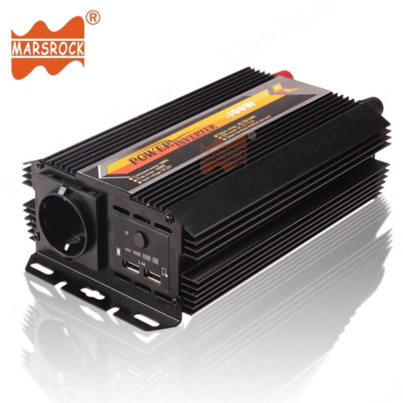 400W Off Grid Sloar Power Inverter 12V 24V DC to 220V AC with Dual USB Charger Modified Sine Wave Inverter Car Home Use Inverter