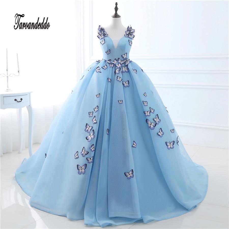 2021 v-ausschnitt schmetterling blumen ballkleider lange blau prom kleid  puffy hohe qualität event kleider vestido de noiva