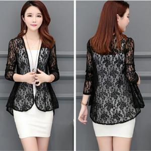 Кружевная блузка Европейская и американская мода пальто куртка 2020 летняя куртка короткий тонкий кардиган с длинным рукавом базовое пальто рубашка 201909