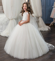 New White Puffy Tulle Flower Girl Dresses for Wedding O neck Sleeveless Lace Up Birthday Communion Dresses with Veil