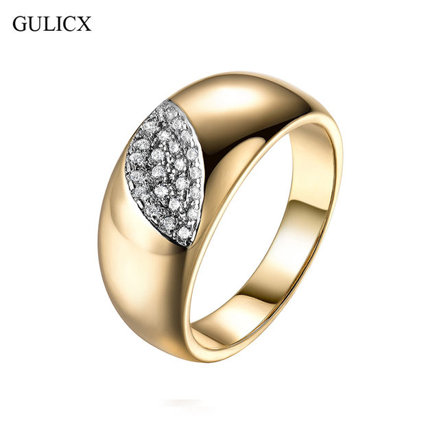 GULICX Evil Eye Shape Rings for Women Gold-color Round White Austrian Crystal Ri
