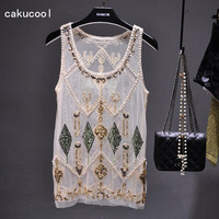 Cakucool Women Summer Sequined Blouse See through Sexy O neck Mesh Blusas Shirt Sleeveless O neck Floral Beading Lady Tank Shirt