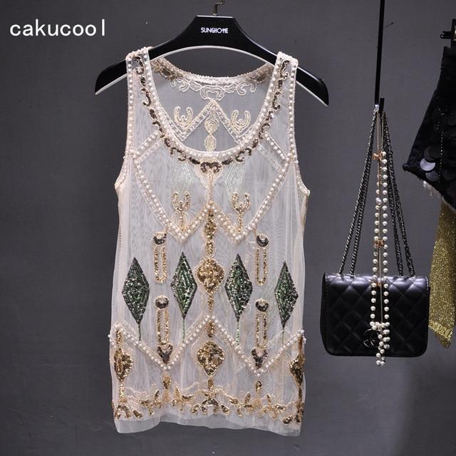 Cakucool Women Summer Sequined Blouse See-through Sexy O-neck Mesh Blusas Shirt Sleeveless O-neck Floral Beading Lady Tank Shirt