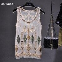 Cakucool Women Summer Sequined Blouse See through Sexy O neck Mesh Blusas Shirt Sleeveless O neck Floral Beading Lady Tank Shirt
