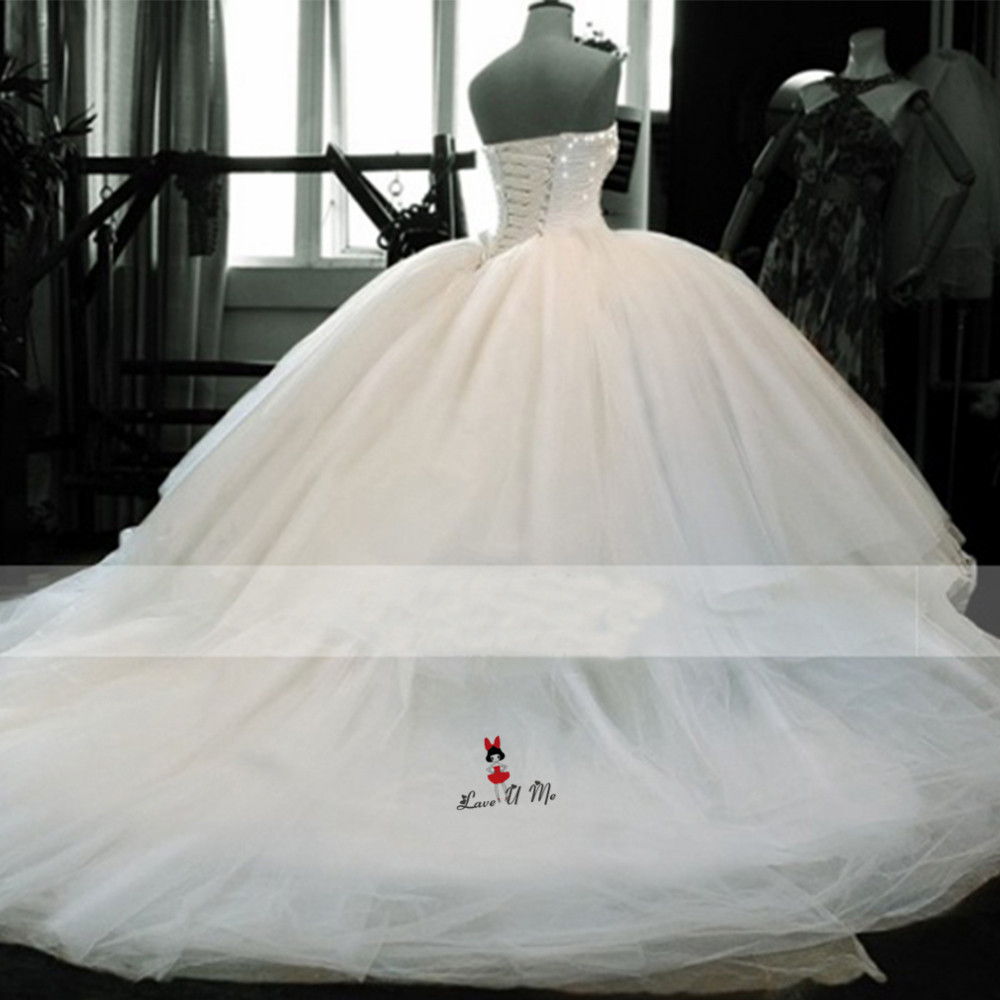 Gorgeous Ball Gown Wedding Dresses Puffy Vestidos De Casamento Beaded Tulle Plus Size Bride Dress 2018 Wedding Gowns Gelinlik