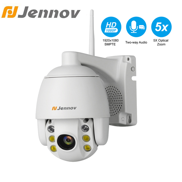 Jennov 5XZOOM PTZ IP Camera 1080P 2MP Two Way Audio Outdoor Video Surveillance Camera Wifi Home Security Wireless Wifi Cameras