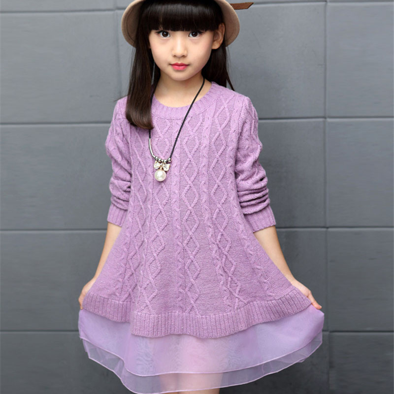 Kids Dresses For Girls Sweaters 2016 Autumn Winter Cotton ...