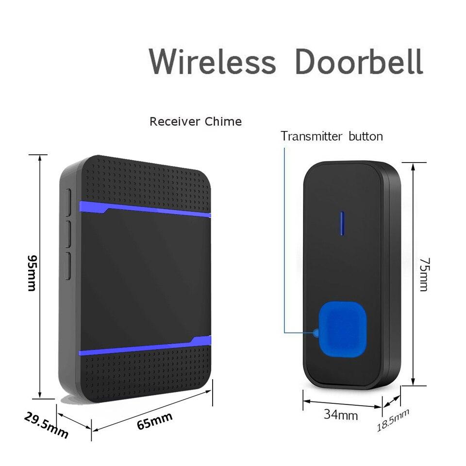 Image 4 - DAYTECH Wireless Door Bell Remote Cordless DoorBell 55 Ring Tone Chime Home Welcome Sensor Waterproof IP55 EU/US/UK Plug-in Doorbell from Security & Protection