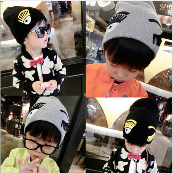 Autumn and Winter Boys and Girls Child Hedging Cap Eyelashes Blink Cute Baby Knitting Wool Skullies & Beanies Hat RX038 skullies 2017 new arrival hedging hat female autumn and winter days wool cap influx of men and women scarf scarf hat 1866729