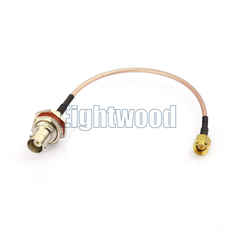 Eightwood RF coaxial coax adapter cable assembly SMA male to BNC female bulkhead straight Pigtail RG316 Cable
