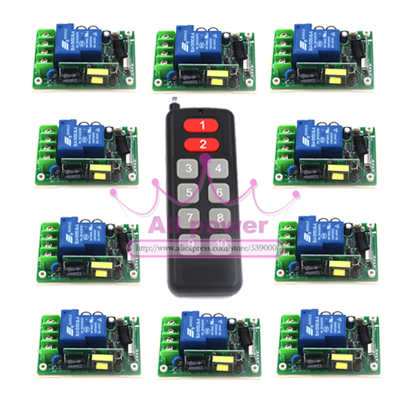 220v 230v RF 1CH channal light /lamp switch ,ON/OFF wireless remote switch adjust output ways 10 receivers Per Set 24v 1ch rf wireless remote switch wireless light lamp led switch receiver