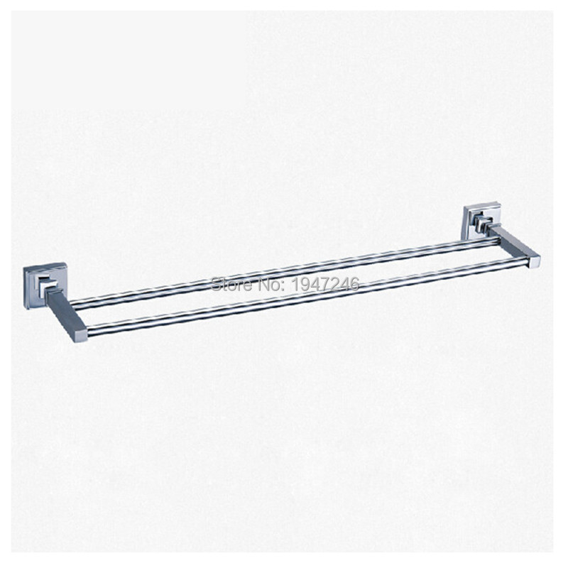 ФОТО Wholesale And Retail Modern Square Solid Stainless Steel Bathroom Towel Rack Holder Double Towel Bars Wall Mounted