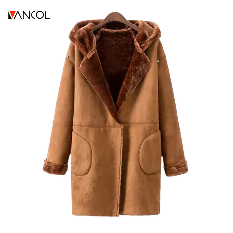 vancol 2016 casual ladies leather Suede coat Rivet female long Shearling Coats hooded fur inside deri ceket winter jacket women
