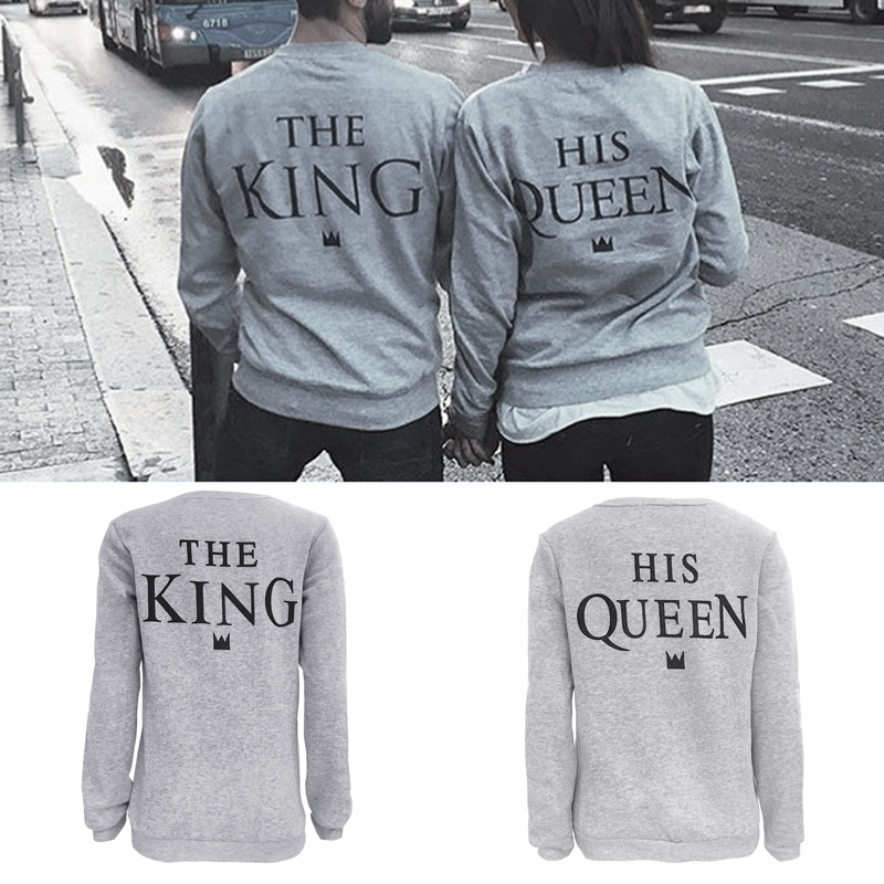 Lovers Women Men Letter Print King Queen  Casual Top Couple  2017 Fashion European Street Style Graphic Tees