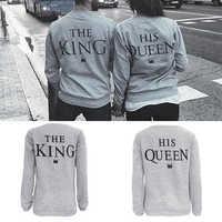 Miłośnicy kobiety mężczyźni list drukuj król królowa top na co dzień para 2017 moda europejska ulica styl koszulki z nadrukami