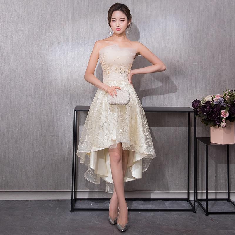 2019 New Elegant Formal Evening Dress Off The Shoulder Red Carpet Party Dress Short Front Long Back Prom Dresses Robe De Soiree